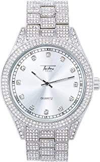 Mens Iced Diamond Watch with Roman Index Dial - Bling-ed Out Metal Band in 14k Gold Tone, Silver and Two Tone - Fully Iced Out Bezel and Diamond Dial - Quartz Movement - Watch and Cuban Bracelet Sets