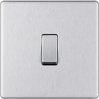 BG Electrical Screwless Flat Plate Single Light Switch, Brushed Steel, 2-Way, 10AX, Intermediate