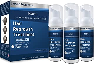 Jadole Naturals Men's 5% Minoxidil Foam for Hair Loss and Hair Regrowth, Topical Treatment for Thinning Hair, 3-Month Supp...