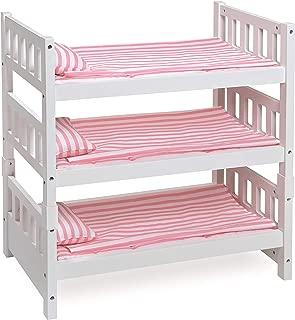Badger Basket 1-2-3 Convertible Doll Bunk Bed (Fits American Girl Dolls), White/Pink Stripe