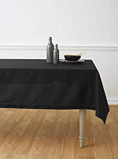 Solino Home Hemstitch Cotton Linen Tablecloth – 52 x 52 Inch, Natural Fabric Machine Washable - Black Tablecloth for Indoor and Outdoor use