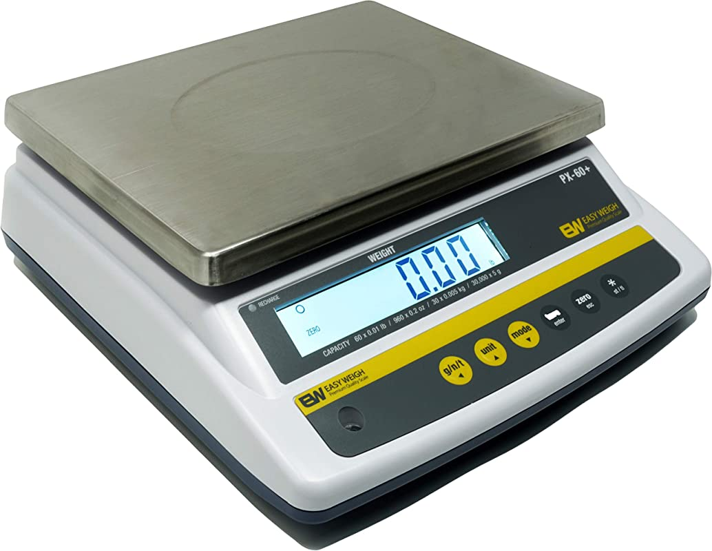 Easy Weigh PX 60 X 0 01 LB Capacity Digital Scale Rechargeable Battery Operated LCD Display Stainless Steel Platter KG Grams Ounces OZ Kitchen Deli Produce Electronic NTEP PX 60