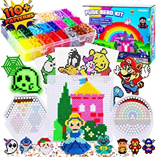 FunzBo Fuse Beads Craft Kit - 111 Patterns Perler Beads Fusion Melty Colored Arts Crafts Set for Kids - 5500 5mm Pearler Fusebead 9 Pegboards for Boys Girls Age 5 6 7 Year Old Classroom Activity Gift