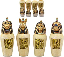 Ebros Gift Ancient Egyptian Four Sons of Horus Canopic Jars Imsety Duamutef Hapi and Qebehsenuef Miniature Figurines