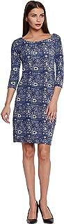 ADDYVERO Women's Round Neck Printed Midi Bodycon Dress
