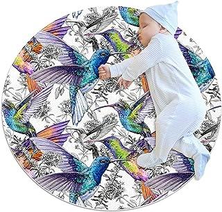 Vacker kolibri, rund matta för barn polyester överkast matta mjuk pedagogisk tvättbar matta barnkammare tipi tält lekmatta