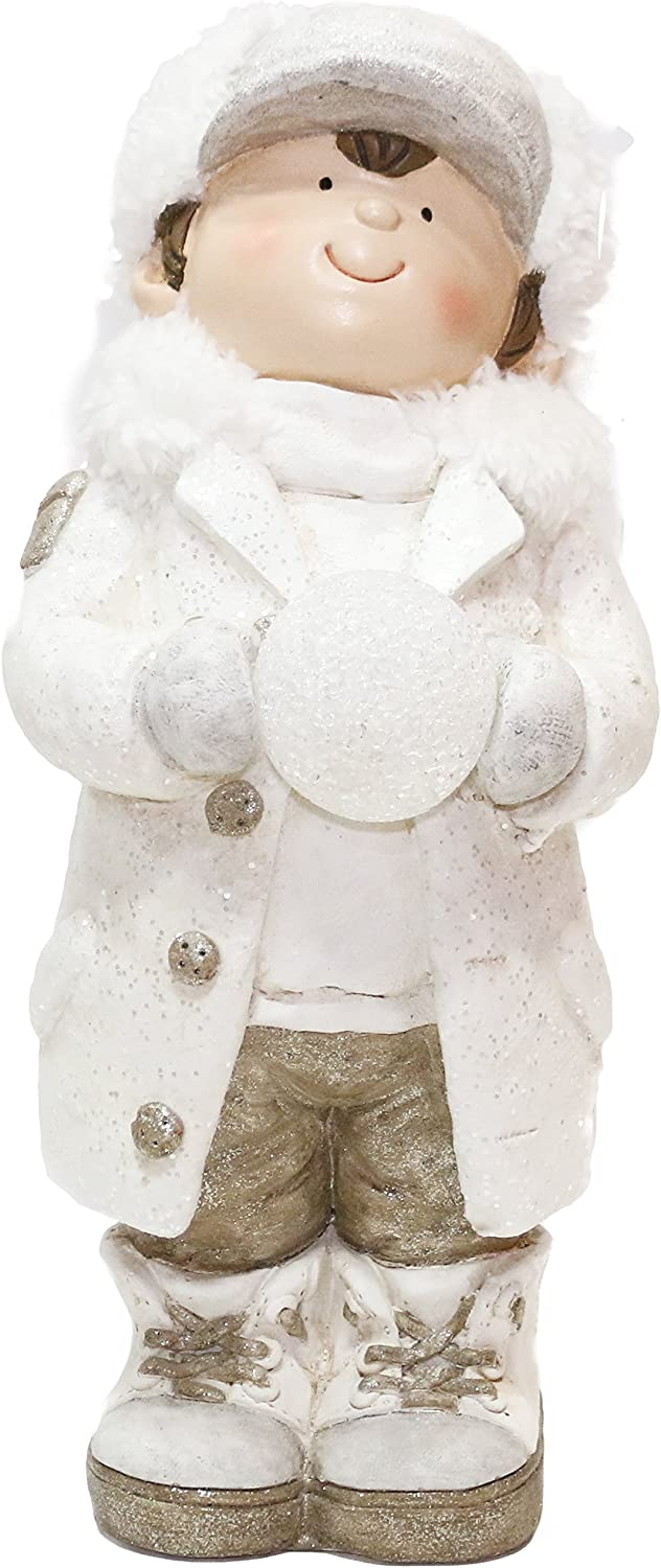 Alpine Corporation Selling rankings QWR716 Christmas Boy LE Snowball with New arrival Holding