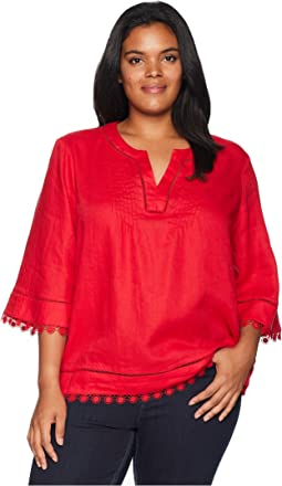 Plus Size Lace-Trim Tissue Linen Top
