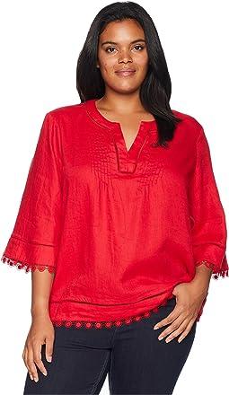 Plus Size Lace-Trim Tissue Linen Top
