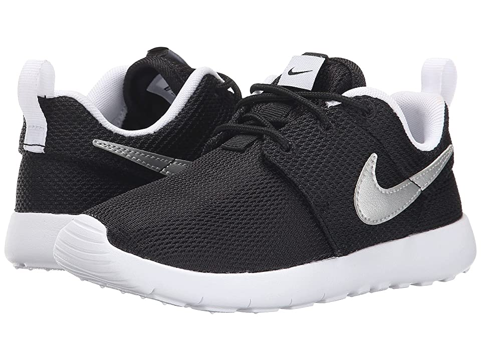 Nike Kids Roshe One (Little Kid) (Black/White/White/Metallic Silver) Boy