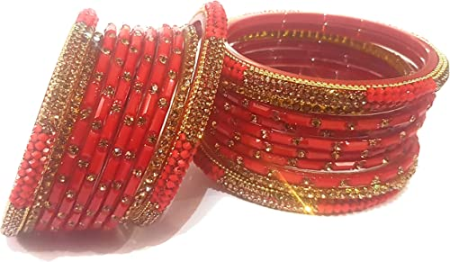 Swara Creations Traditional Glass Bangles Kada Set in Red Maroon Color Designer Karwa Chauth Special for Women Girls SN156