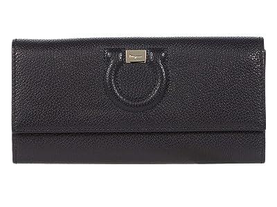 Salvatore Ferragamo City Grainy Wallet (Nero 1) Handbags