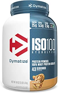 Dymatize ISO 100 Whey Protein Powder with 25g of Hydrolyzed 100% Whey Isolate, Gluten Free, Fast Digesting, 3 Pound Peanut...