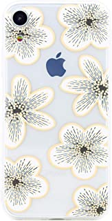 ZUKOU iPhone XR case White Flowers Floral Clear Soft and Slim Thin with Strap Hole