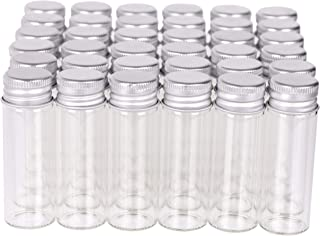 MaxMau 100 Tiny Glass Bottles Clear Small Vials 15 Milliliter Empty Mini Jars with Aluminum Screw Top Lids Sample Message Bottle Wedding Favors Decorations DIY Jewelry Accessories Liquid Hold Storage