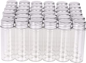MaxMau 100 Tiny Glass Bottles Clear Small Vials 15 Milliliter Empty Mini Jars with Aluminum Screw Top Lids Sample Message ...