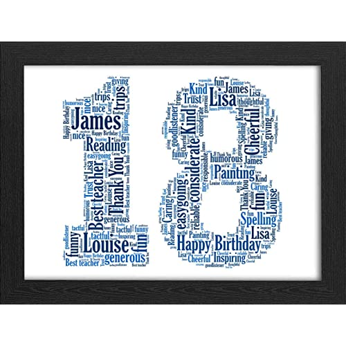 18th Birthday UPK Gifts Personalised Word Art Gift Keepsake 1st 16th 21st 30th 40th 50th