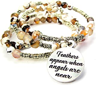 ChubbyChicoCharms Feathers Appear When Angels are Near Microcrystalline Quartz Wrap Agate Stone Bracelet in Brown