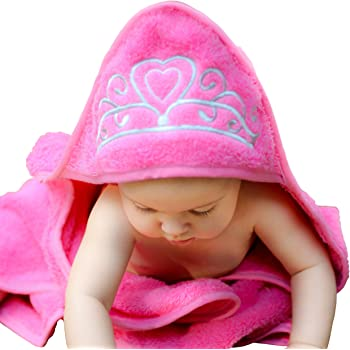 """Princess Hooded Baby Towel (Pink), 29"""" x 29"""", Plush and Absorbent Luxury Bath, Beach, Pool Towel! 600 GSM, 100% Cotton"""
