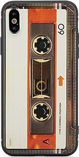 ZUKOU 昭和レトロ カセットテープ iPhone Xs 薄型 スリム 軽量 ソフト ケース ストラップホール 黒 ブラック