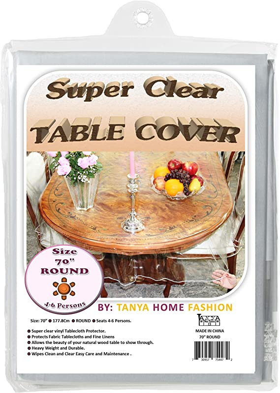 100 Vinyl Super Clear And Durable Tablecloth Protector Size 70 Round More Choices Available