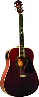Kona Guitars K101 Dreadnought Acoustic Guitar with 3-Band Active E.Q, Transparent Red