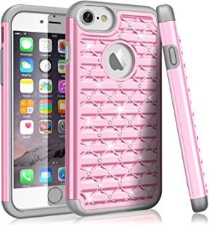 iPhone 8 Case, iPhone 7 Case For Girls Women, TILL(TM) Studded Rhinestone Crystal Bling Diamond Sparkly Luxury Shockproof Hybrid Defender Glitter Protective Case Cover For iPhone 7/8 (4.7 INCH) [Pink]