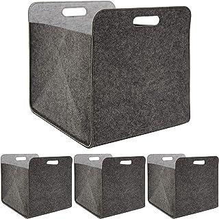 DuneDesign Lot de 4 boîtes de rangement pliables en feutre 33 x 33 x 38 cm – Boîte de rangement pour étagère Kallax – Pani...