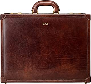 Maxwell Scott Men's Italian Leather Attache Case - Buroni Brown