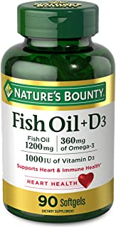 Fish Oil plus Vitamin D3 by Nature's Bounty, Contains Omega 3, Immune Support & Supports Heart Health, 1200mg Fish Oil, 36...
