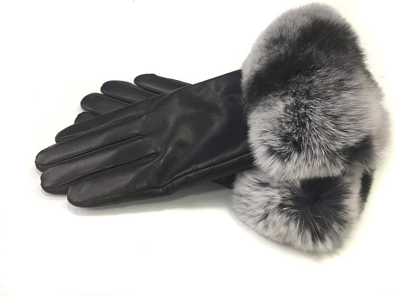 Chinchilla Rex Rabbit fur Leather Gloves-Black