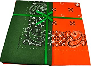 Orange & Green Paisley 2-Pack Bandana Neckerchief