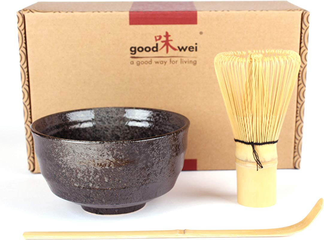 Japanese Matcha Tea Ceremony Set Ceramic Bowl With Bamboo Whisk And Scoop