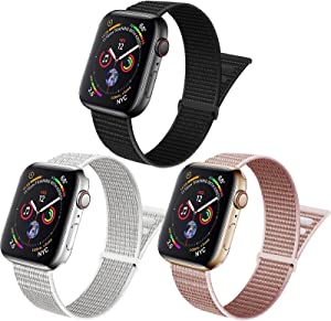ZUQUEE 3Pack Nylon Loop Compatible with Apple Watch,Stretchy Soft Adjustable Elastic Women Men Sports Straps for Iwatch Series 7/6/5/4/3/2/1/SE,Dark Black/Summit White/Rose Pink,38/40/41mm