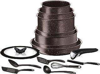 Tefal Ingenio Extreme effet pierre Batterie de cuisine 15 pièces, Antiadhésive, Induction, Poêles 22/24/28cm, Casseroles 1...