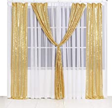 PartyDelight 2ftX8ft Sparkly Gold Sequin Backdrop Curtain Photo Booth for Wedding Party Birthday Decoration Pack of 2.