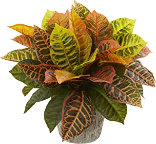 Nearly Natural Garden Croton Artificial Weathered Oak Planter (Real Touch) Silk Plants, Green