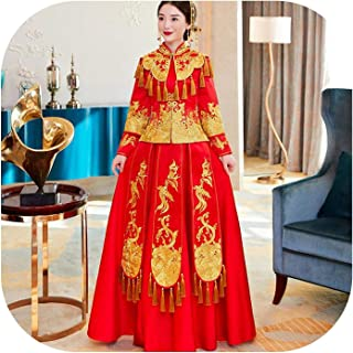 Vintage Chinese Style Lady Cheongsam Suit Gold Tassels Novelty Noble Bride Wedding Dress Gown Oriental Embroidery Qipao
