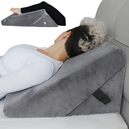 Cushy Form Bed Wedge Pillow for Sleeping - Adjustable Memory Foam Incline Pillows for Elevated Support, Sitting Up - Post-Surgery Triangle Wedges Help with Pain Relief