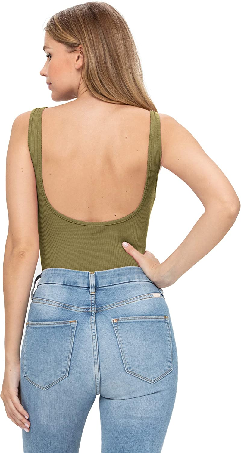 Women's Sexy Scoop Neck Tank Top Button Down Ribbed Bodysuits Racerback Sleeveless/Short Sleeve/Long Sleeve