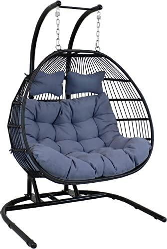 """high quality Sunnydaze Liza Loveseat outlet sale Egg Chair 2021 with Gray Polyester Cushions and Stand - Comfy Outdoor Collapsible Hanging Chair with Stand - Black Polyethylene Wicker Rattan Frame with Steel Stand - 76"""" Tall outlet sale"""