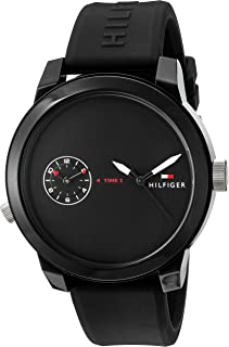 Tommy Hilfiger Men's 'Denim' Quartz Silicone Band, Color:Black (Model: 1791326)