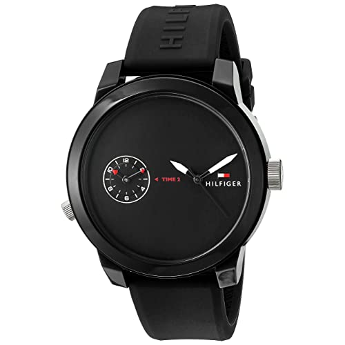 Tommy Hilfiger Mens Denim Quartz Plastic and Rubber Casual Watch, Color:Black