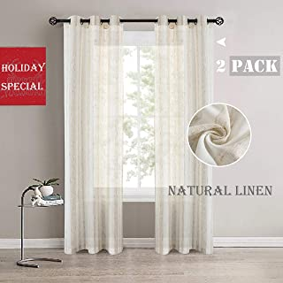 Randall Linen Stripe Curtain Panel Natural Linen Blend Window Curtains Grommets Top Semi Sheer Soft Heavy Rustic Panel Pairs 42