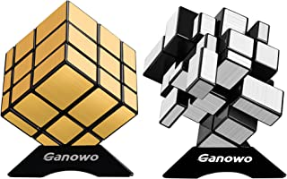 Ganowo Mirror Speed Cube Puzzle 3x3x3 Gold and Silver Mirror Magic Cube Set 2 Pack for Kids