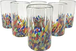 Hand Blown Mexican Drinking Glasses – Set of 6 Confetti Carmen Design Glasses (14 oz each)