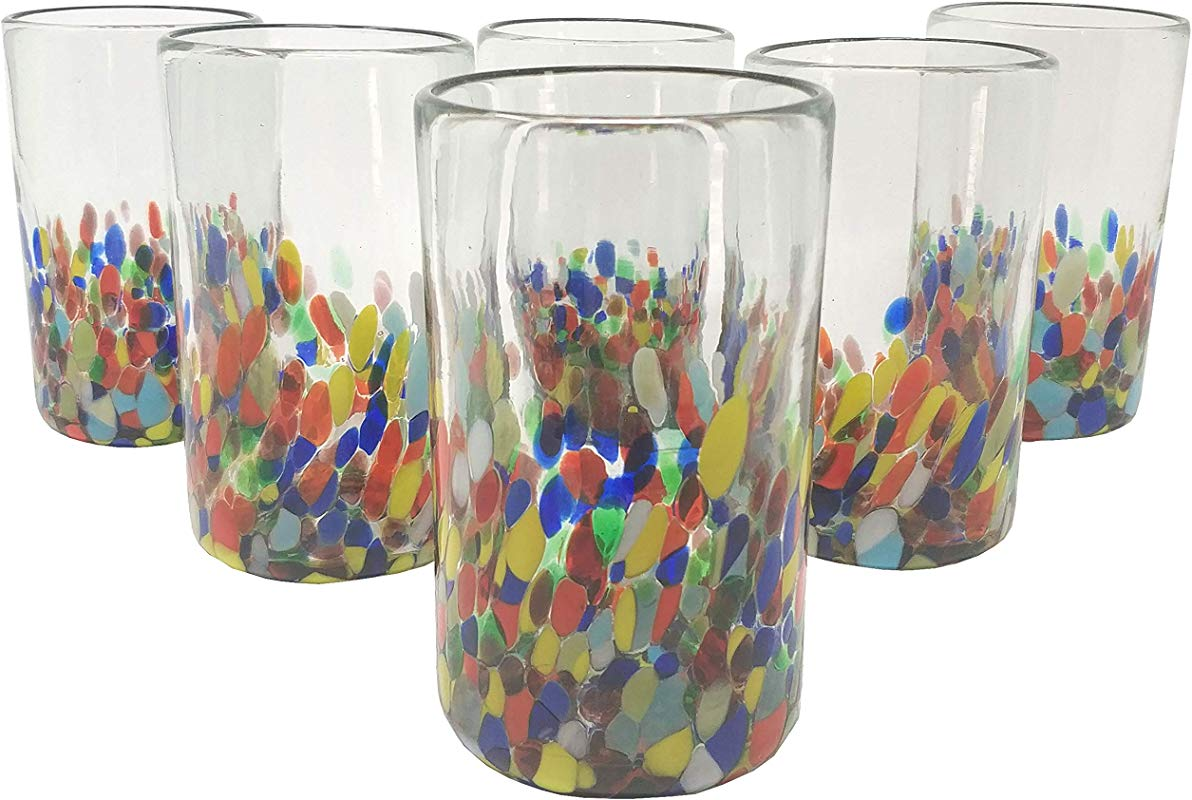 Hand Blown Mexican Drinking Glasses Set Of 6 Confetti Carmen Design Glasses 14 Oz Each
