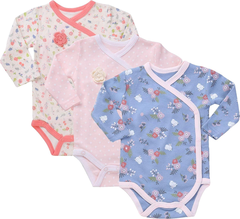 Baby Girls 3-Pack Long-Sleeve Kimono Bodysuit Set Side Snap Onesie Infant Bundle.