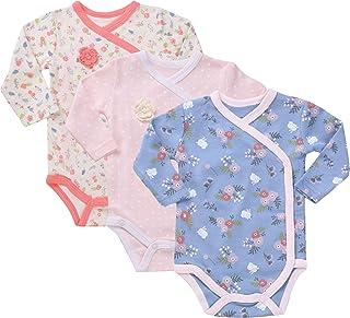 Baby Girl`s 3-Pack Long-Sleeve Kimono Bodysuit Set -Side Snap Onesie Infant Bundle.