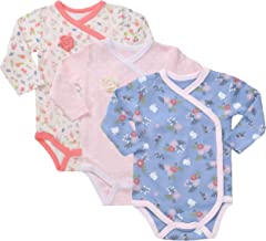 Asher & Olivia Baby Kimono Side Snap Onesies 3 Pc Girl Long Sleeve Bodysuit Set